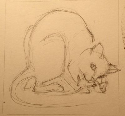 Cat-and-dead-rat sketch 5