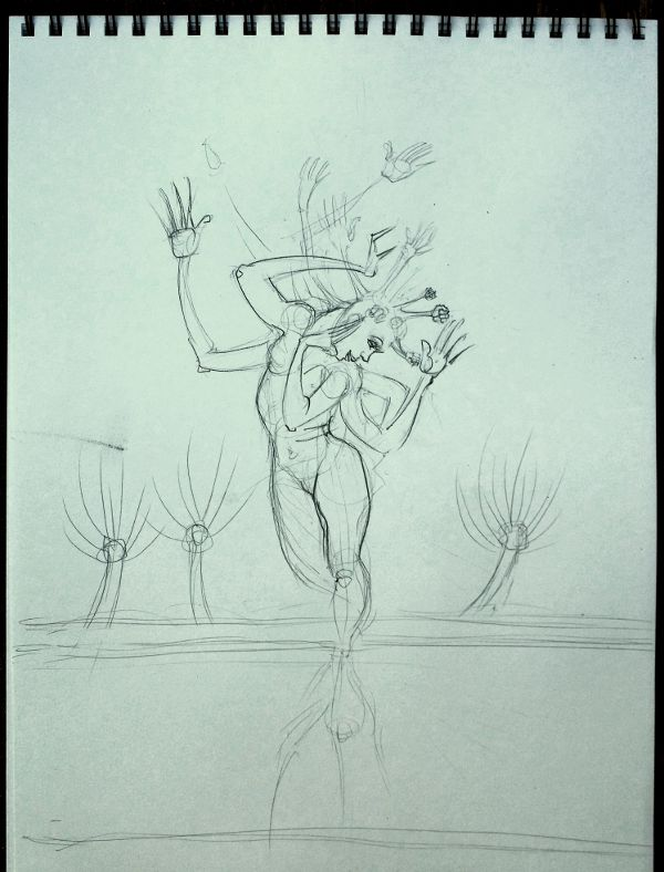 Sketch: Pollarded dryad admires her reflection