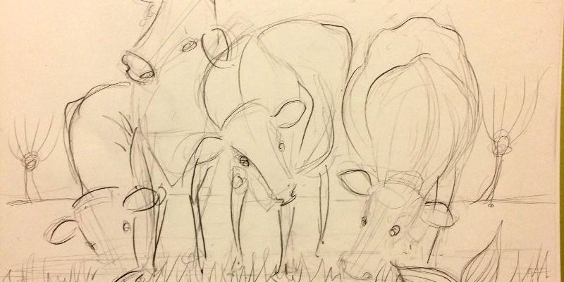 Sketch: Rhyne Maiden and Cows