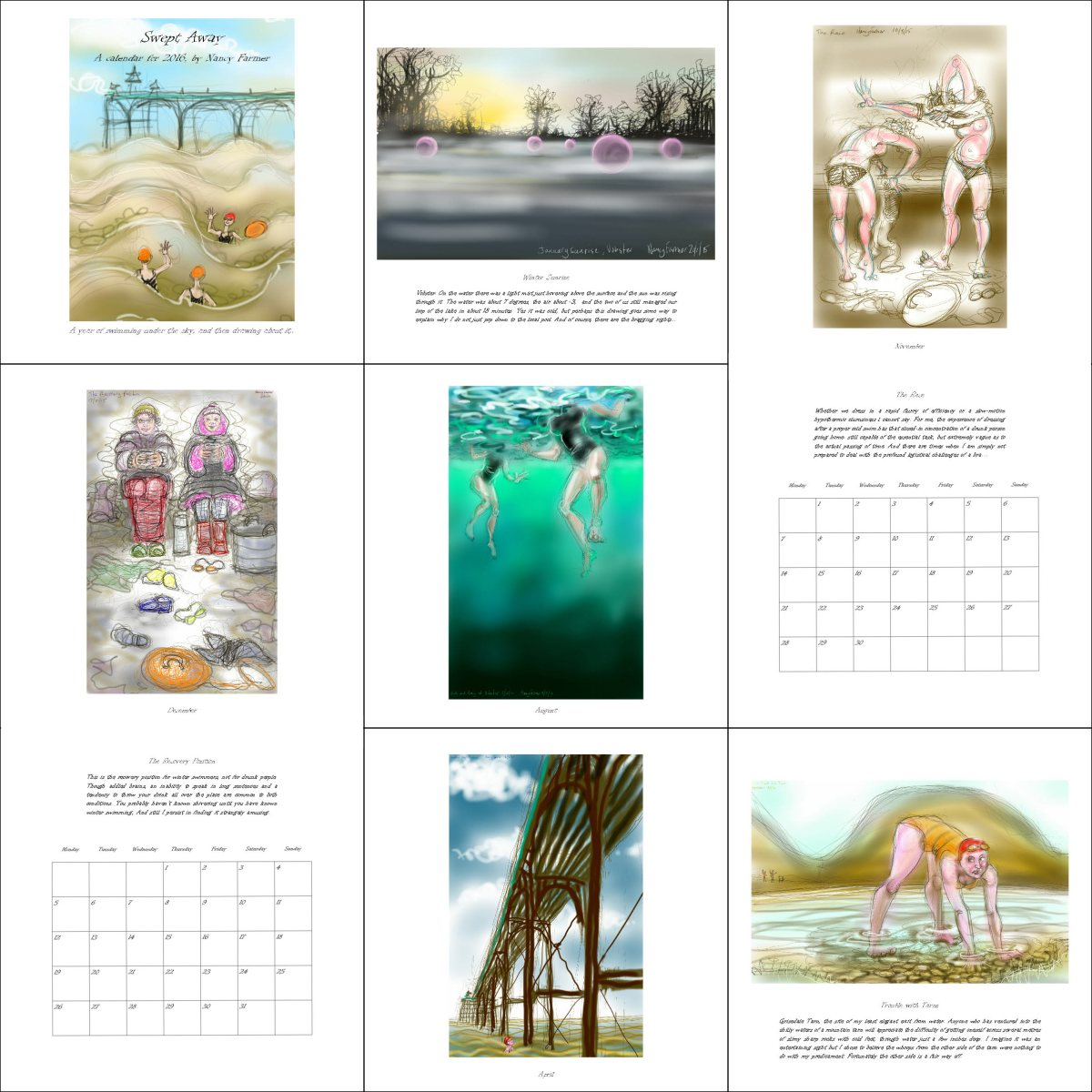 Swept Away - a calendar for 2016 by Nancy Farmer