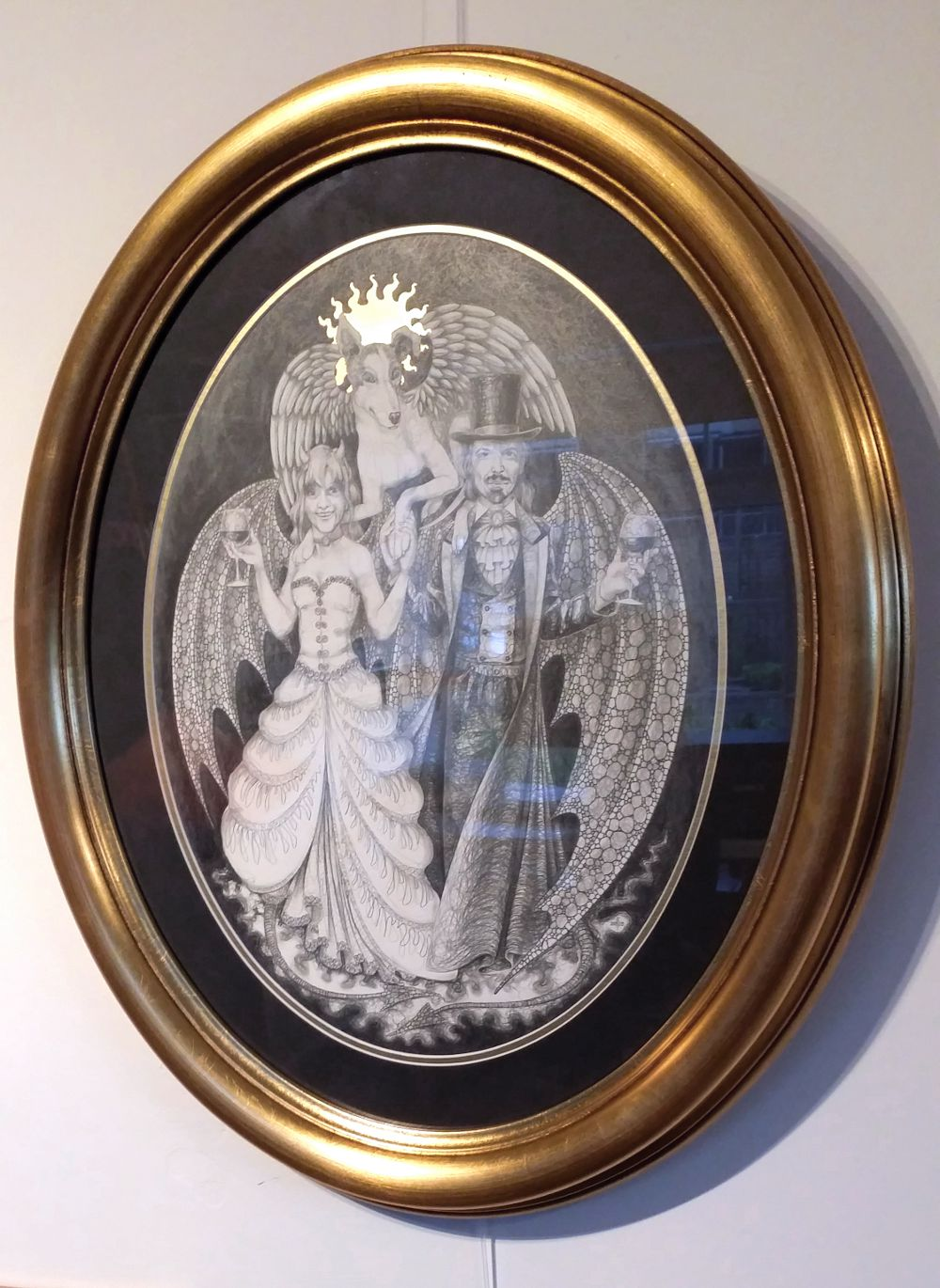 Finished picture in oval frame