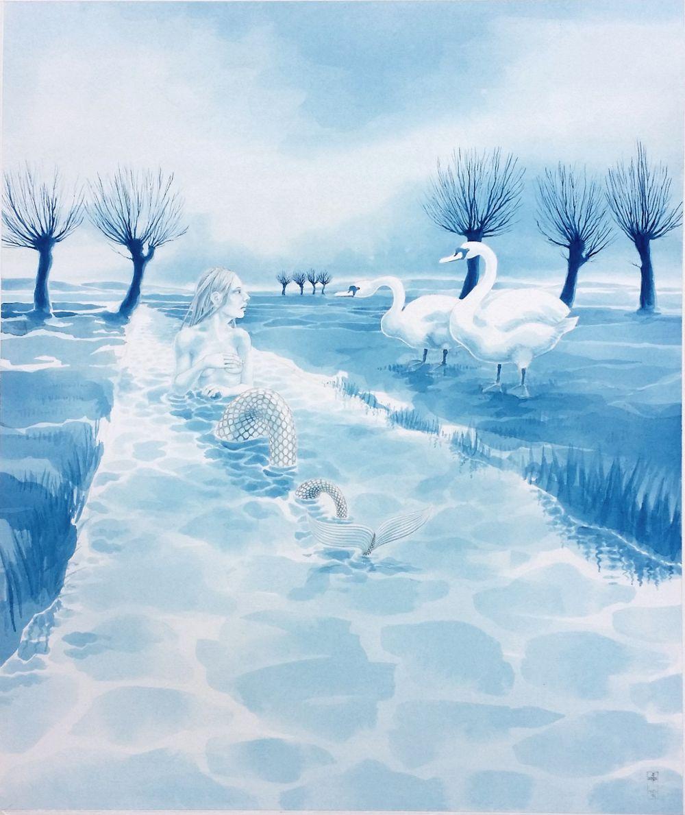 'Rhyne Maiden & Swans', watercolour by Nancy Farmer, 2015