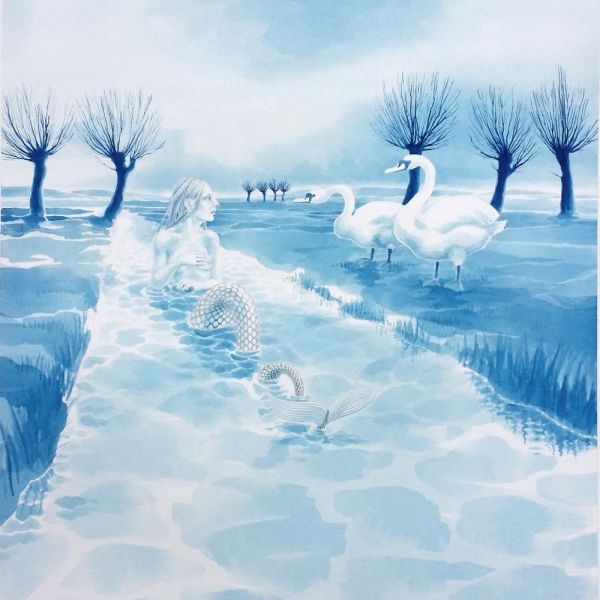 'Rhyne Maiden & Swans', watercolour by Nancy Farmer, 2015