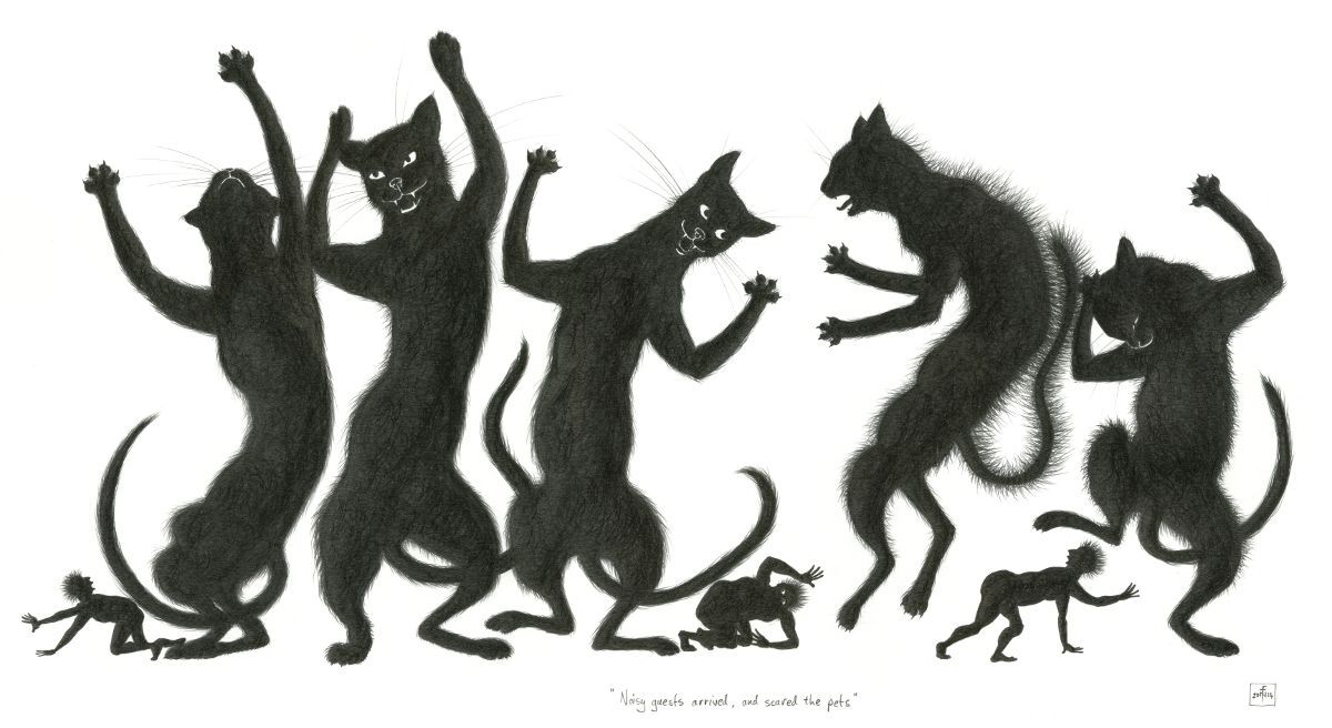 'Noisy Guests came, and Scared the Pets', pencil drawing by Nancy Farmer