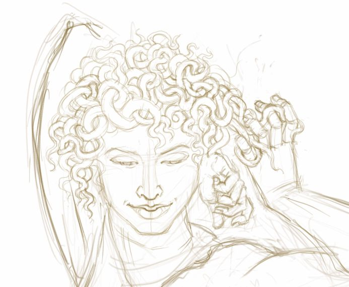 Medusa of the Levels - sketch of head