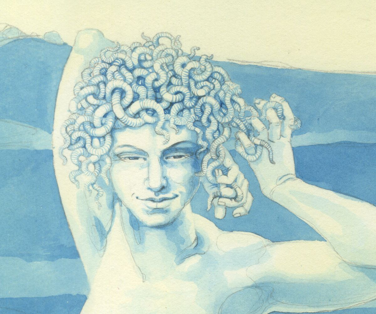 Close up of Medusa with a head of worms - watercolour and pencil