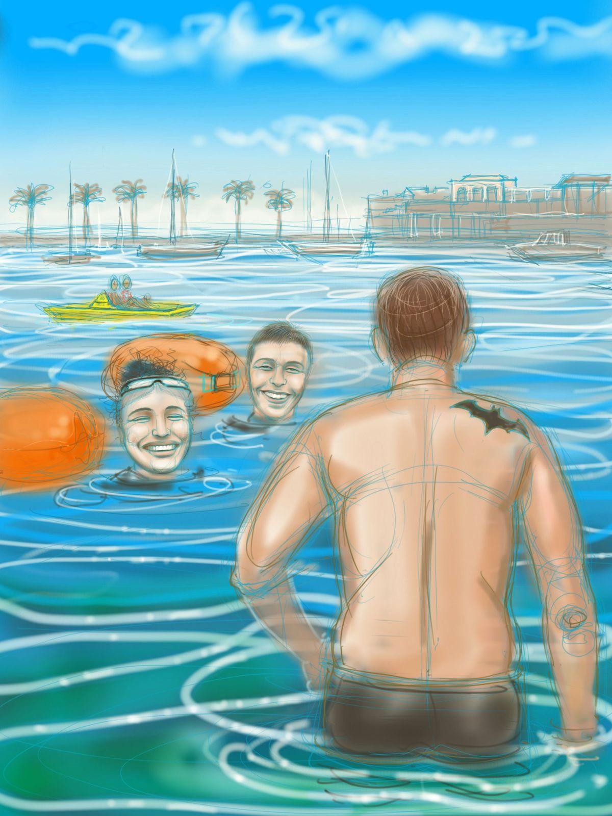 Clare & Friends, swimming in Portugal