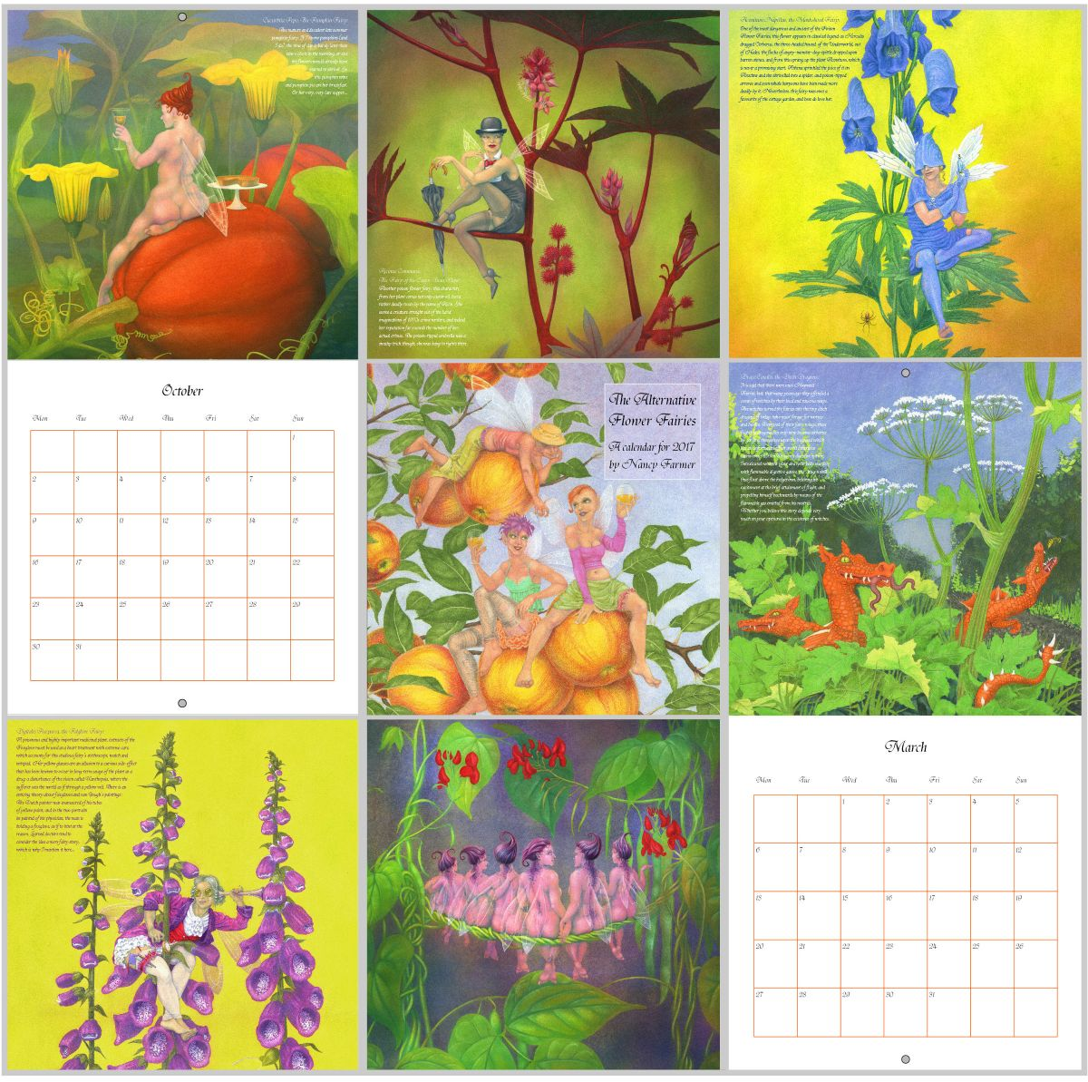 Pages from the Flower Fairies Calendar