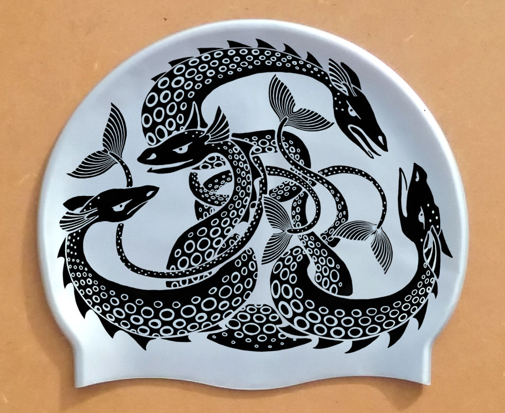 Black on Silver Sea Monster swim cap