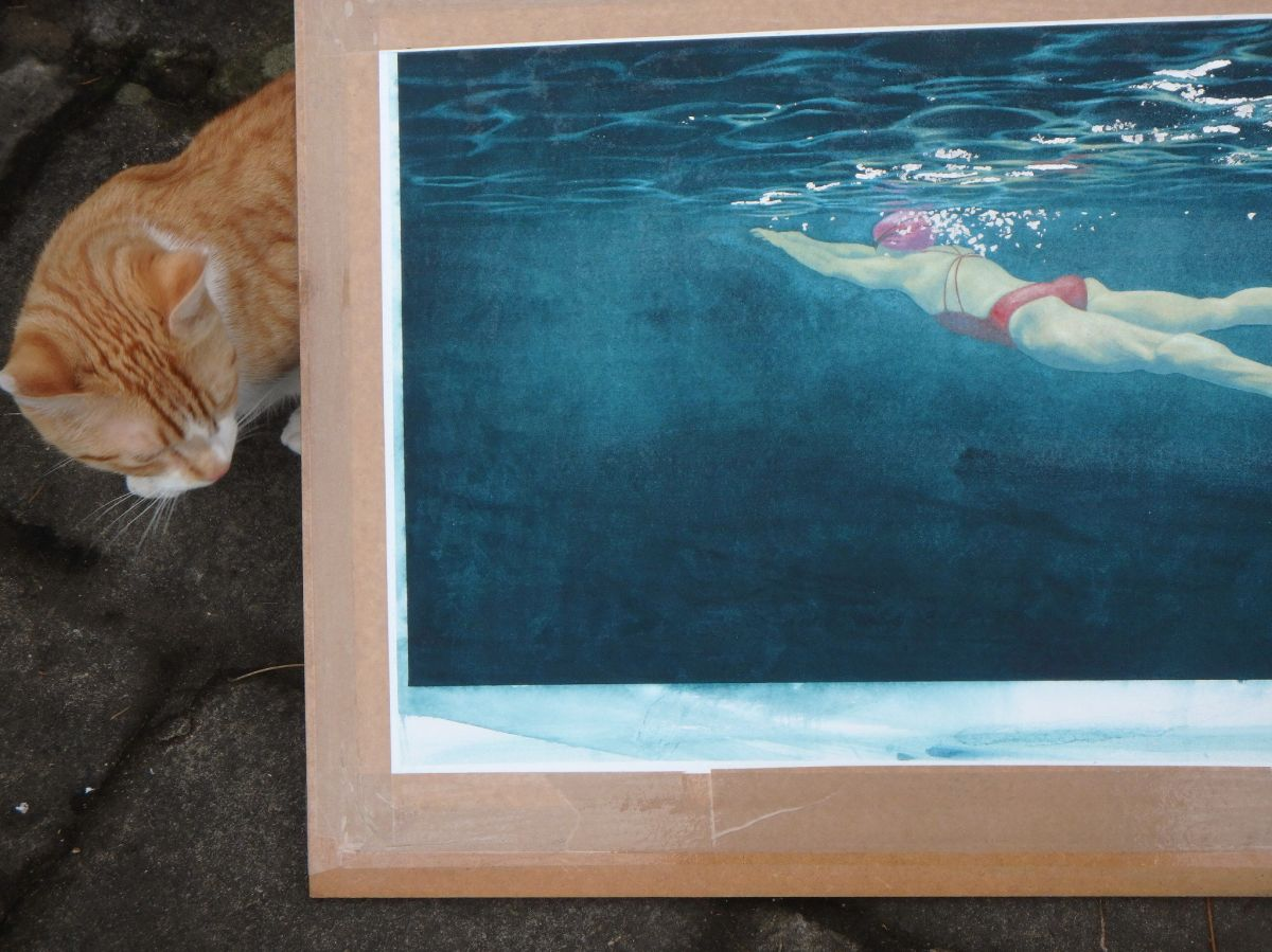 Painting with cat for scale.