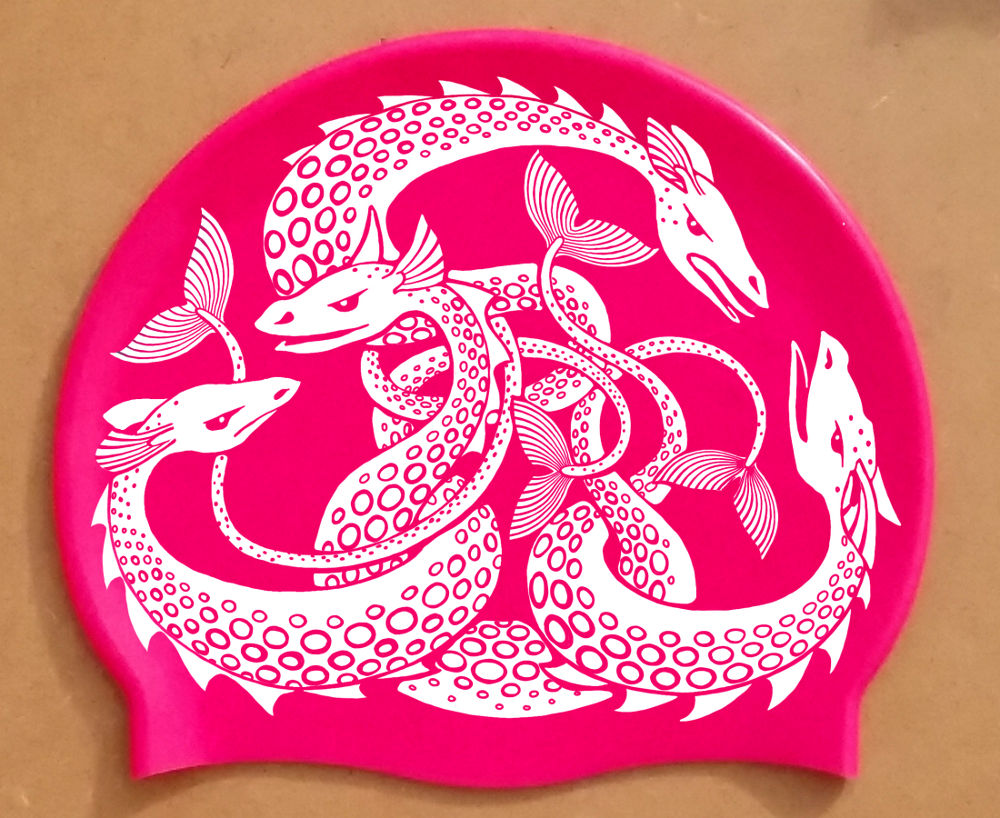 White on Pink Sea Monster swim cap
