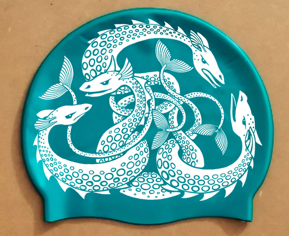 White on Viridian Sea Monster swim hat