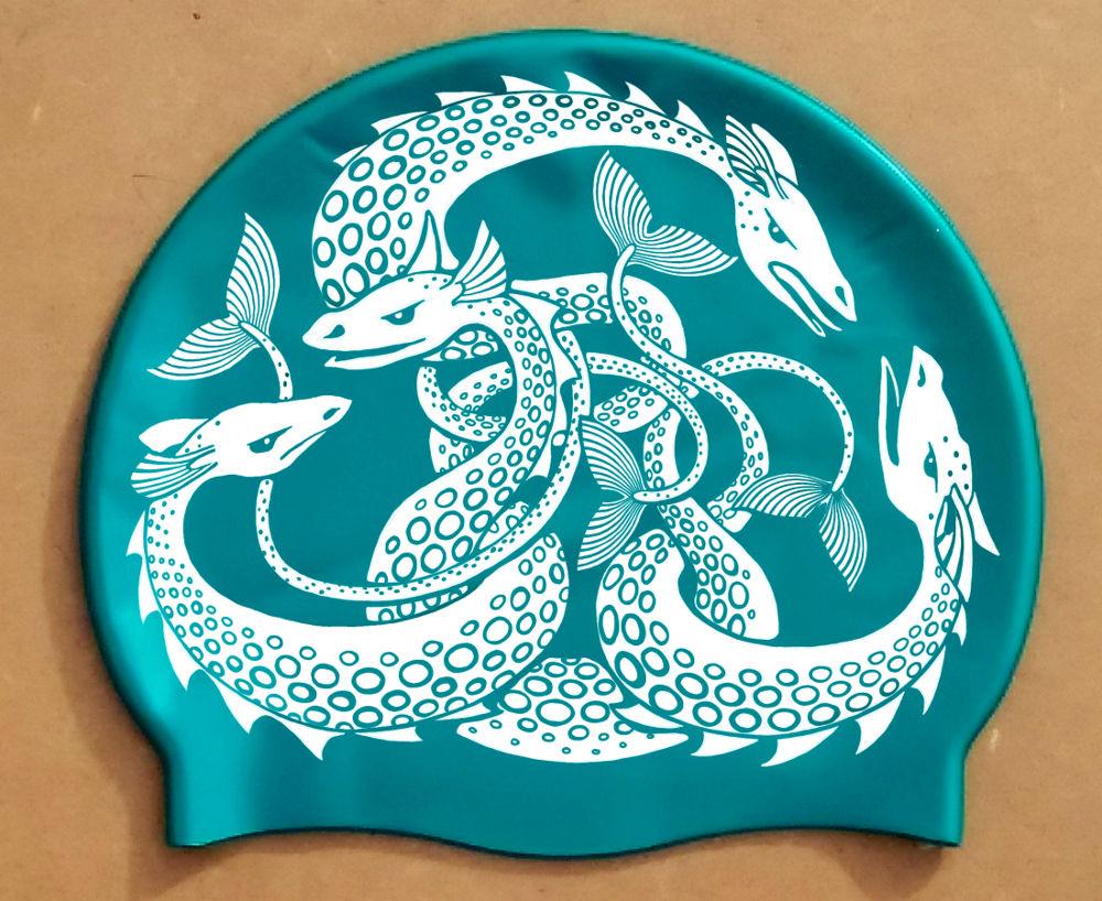 White on Viridian Sea Monster swim hat