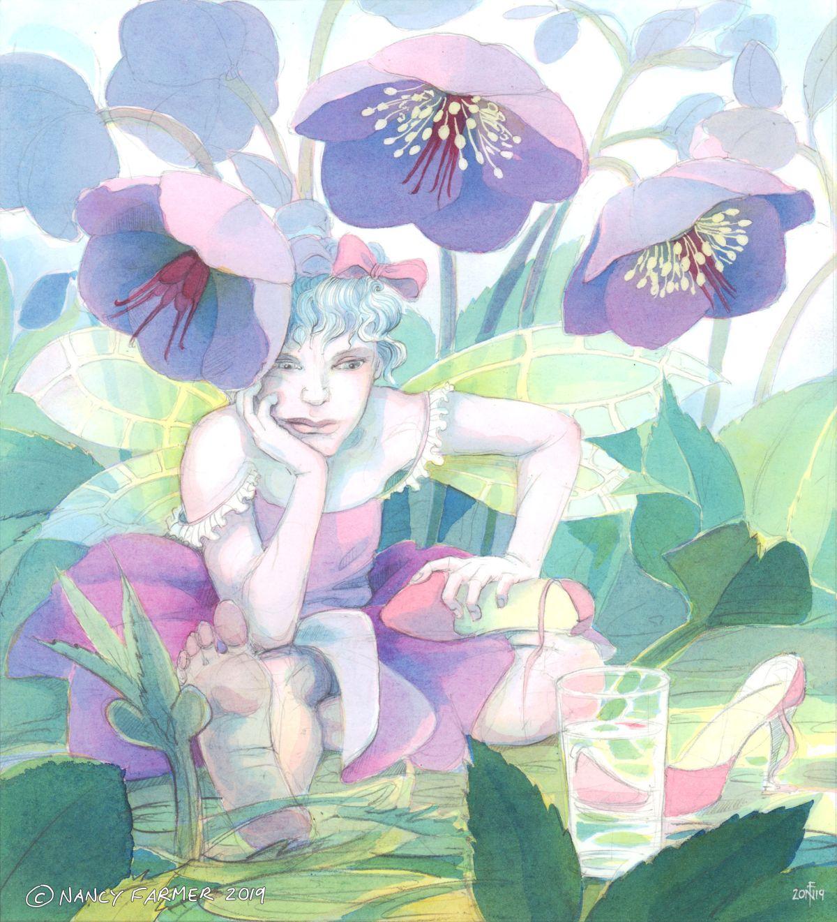 Lenten Rose Fairy - watercolour - by Nancy Farmer
